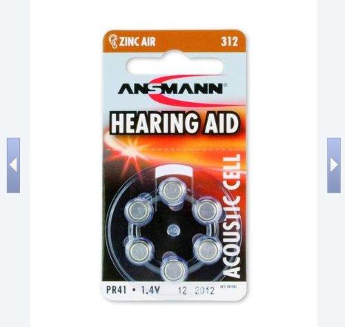ANSMANN 5013233-02 Hörgerätebatterie Typ-312 Zink Luft 1,4V PR41 AZA312 braun