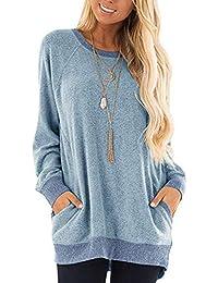 Yidarton Damen Sweatshirt Casual Farbblock Langarmshirt Rundhals Pulli Bluse Top Pullover Oberteile
