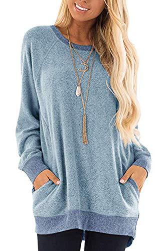 Damen Langarmshirt Casual Sweatshirt Farbblock T-Shirt Rundhals Blusen Top Pullover Oberteile mit Taschen (252-Hellblau, Small)