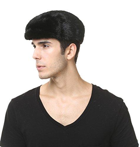 Vogueearth Homme Réel Peau De Vison Fourrure Plus Chaud Hiver Flexible Chapeau Casquette Noir