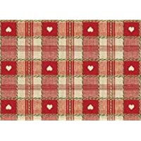 """137cms x 178cms Red Heart Check Pvc//Wipeable Tablecloth 54/"""" x 70/"""""""