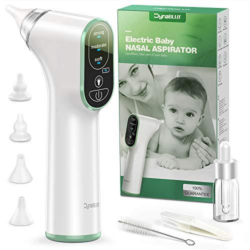 Aspirador Nasal Bebe Electrico, DynaBliss U8 de Carga USB con 3 Niveles de Succión 4 Tamaños con Puntas...