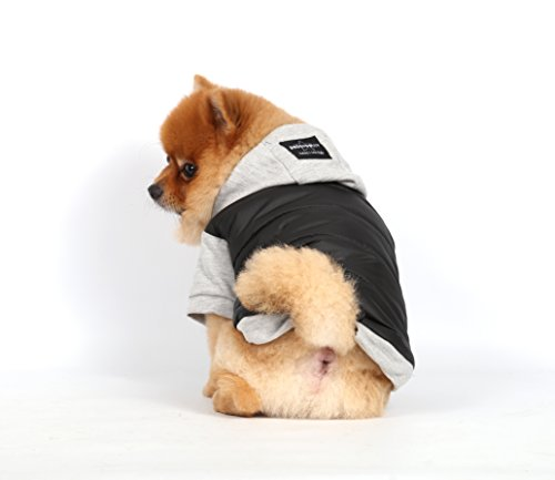 Doggy Dolly W109 Hundejacke Wasserabweisend mit Kapuze, schwarz/grau, Wintermantel/Winterjacke, Größe : XXS - 6