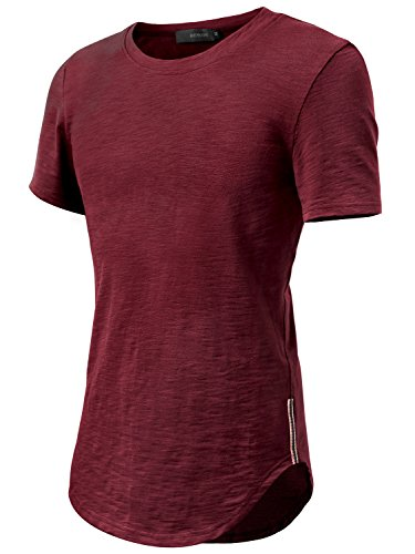 HEMOON Herren O-Neck T-Shirt Shaped Raglan Slim Rundhals Weinrot XL (Tunika Jacke Stricken)