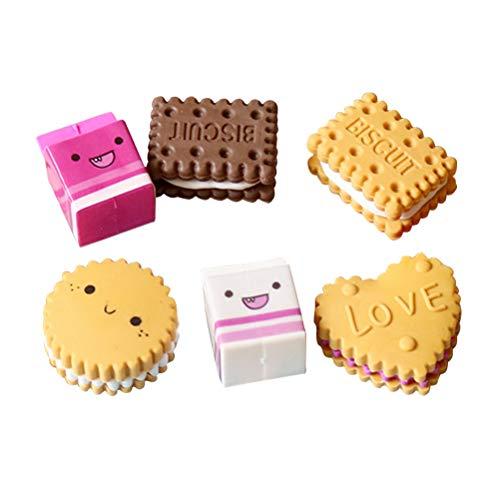 Toyvian 6 stücke Box-cute Kawaii Milch Cookies Keks Radiergummis Schule Schreibwaren Kreative Geschenk für Kinder Kinder Studenten