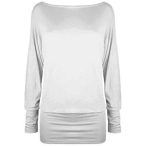 Damen Langärmlig Einmalig Schulter Top Womens Batwing T-shirt Pulli 36 38  40 42 Weiß