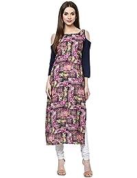 Ziyaa Casual Wear Multi Colour Cold Shoulder Digital Print Crepe Kurti