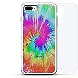 Luxendary Designer, 3D-Druck, Mode, Luftpolster-Kissen, 360 Glas-Schutz-Set für iPhone 8/7 Plus, transparent, Batik, transparent, farblos