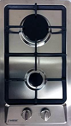 ph nix domino gaskochfeld einbau edelstahl gaskocher 2 flammig inox lpg erdgas. Black Bedroom Furniture Sets. Home Design Ideas