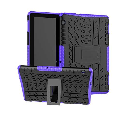 xinyunew Huawei MediaPad T5 10 Hülle, Handyhülle Case 360 Grad Ganzkörper Schutzhülle+Panzerglas Schutzfolie Schützend Handys Schut zhülle Tasche Cover Skin für Huawei T5 10 Lila