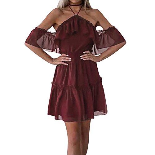 y Chiffon Cocktail Party Bleistift Midi Kleid Bandage Kleider Rüschenkleid Boho Halter Beiläufig Lose Tunika Blusenkleider Kurz Partykleid Sexy Spitze Kleid ()