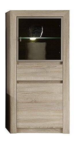 trendteam Wohnzimmer Vitrine Regal Standregal Sevilla, 64 x 133 x 38 cm in Eiche Sägerau Hell Dekor mit LED Beleuchtung in Warm Weiß und brünierten Glas