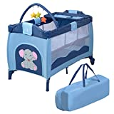 COSTWAY Reisebett klappbar | Babyreisebett Farbwahl | Kinderreisebett mit Rollen | Babybett | Kinderbett Inkl. Spielbogen/Tragetasche/Wickelauflage (Blau)