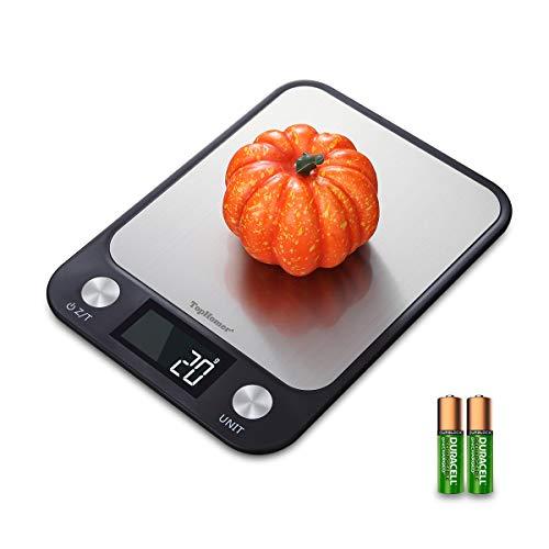 Top Vigor Digitale Küche Essen Skala Gewicht Gramm und oz, Diät Essen Skala Weight Watchers Zum Backen und Kochen mit 22lb 10kg Kapazität, große Easy-to-Read LCD-Display, Edelstahl, größere Plattform - Essen-gewicht-digital-skala