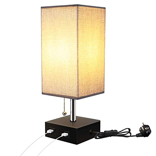Lightess Lámpara Mesa de Noche LED, USB Dual Interruptor Dual Luz ...