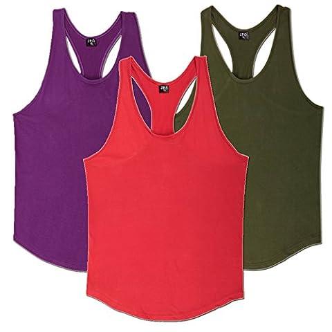 Pack of 3 Mens Plain Gym Vests Bodybuilding Muscle singlet RacerBack Stringer , red, camouflage, purple