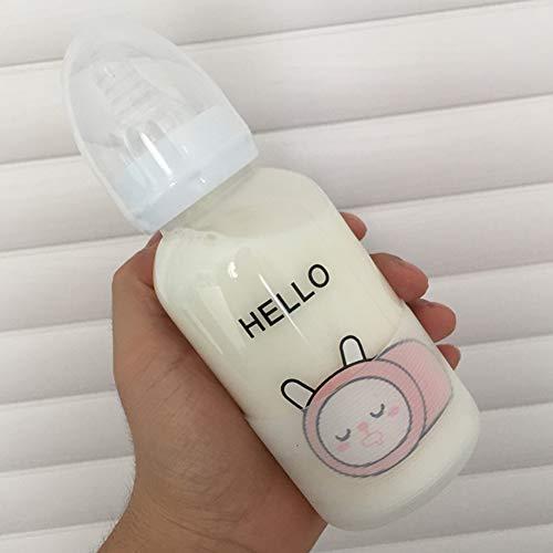 und Weisetier-Baby-Flasche, Karikatur-Glasflasche für Kinder mit Stroh, Widerstand-Wasser-Schale der hohen Temperatur ()