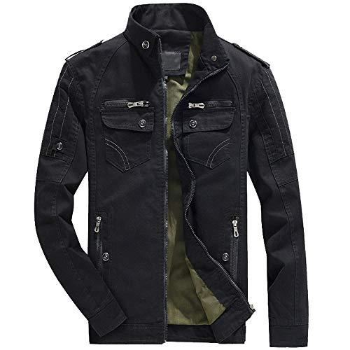 Riou Herren Winterjacke Windbreaker Männer Winter Wärme Mode Jaken Parka Outwear Slim fit Trench Zip Reißverschluss Tasten Mäntel M-5XL (3XL, Schwarz)