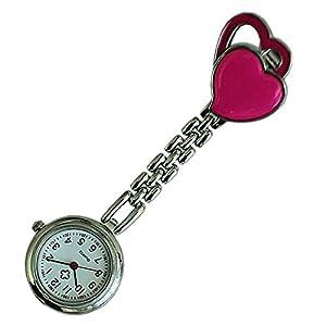 Quarzuhr Armbanduhr – SODIAL(R) Krankenschwesteruhr Quarzuhr Damenuhr Kinderuhr Taschenuhr mit Clip Doppel-Herz (Rose Red)
