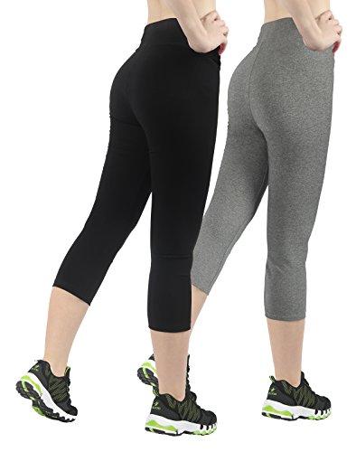 4How® Femme Legging Long Uni Gris+Noir court