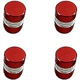 Dolity Casquillo de Aluminio Tapa Tapón Neumáticos Rueda Válvula Aire para Coche 4 Pedazos - Rojo