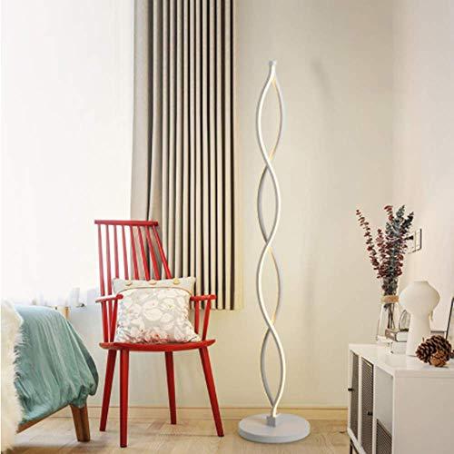Twist Welle Dimmbar LED Stehleuchte - ELINKUME Modern Einzigartiges Design Warmweiß Beleuchtung 30W Brightest,Button Dimmbare Schalter,Weiß Eisen Material für Wohnzimmer/Schlafzimmer -