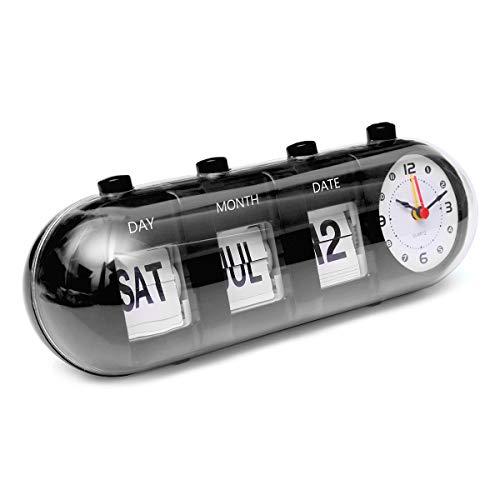 KUNSE Retro Manual Flip Schreibtisch Alarm Clock Digital Quartz Day Date Kalender Anzeige Home Decor-Schwarz
