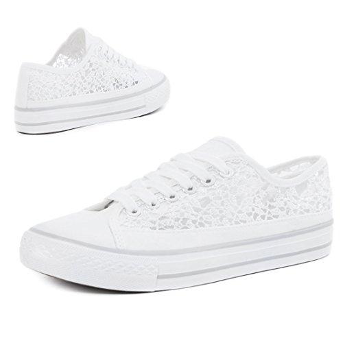 Unissex Baixos Superiores Branca Clássicas Sneaker Sapatos Sapatilhas Renda Elevadas Homens Mulheres 4IAxqxwO5