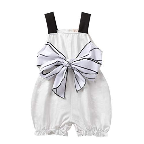 jerffer Softshell Overall Mädchen ärmellose Streifen Riemen Bogen Overall Strampler Kleidung