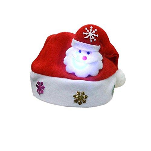 HLHN LED Weihnachtsmann Hüte Kinder Erwachsene Weihnachten Rentier Schneemann Geschenk Red Mützen (Erwachsene, Weihnachtsmann) (Crystal Rentier)