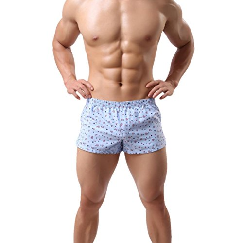 Herren Boxershorts Unterhosen 100% Baumwolle Unterwäsche Shorts Männer hellblau