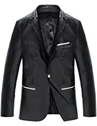 Herren Vintage PU-Leder Jacke Kunst Lederjacke Anzugjacke Sakko Kunstlederjacke Übergangsjacke Herbstjacke Herrenjacke Lederlook 2 Farben zum Auswahl