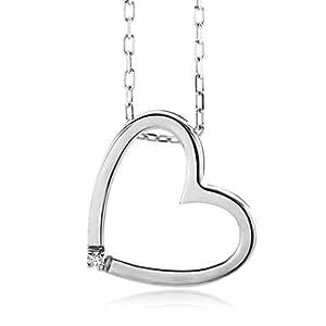Miore Damen-Halskette mit Herzanhänger 375 Weißgold 45 cm 1 Brillant weiß: MIORE