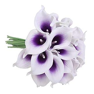 TOOGOO Flores Artificiales, Flores Falsas PU Lirio de Cala Artificial Ramo Nupcial de la Boda para la DecoracióN de la Boda del Partido del JardíN Casero 12 Piezas (PúRpura y Blanco)