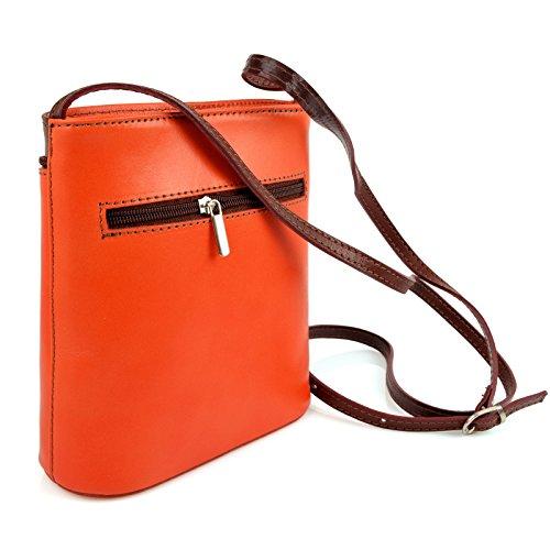 e8432ac7fc540 Vera Pelle Handtaschen Italien Echt Leder Schultertasche Frauen Damen Tasche  Handtasche Ital Bag Orange Braun Plain ...