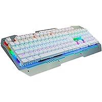 AULA Reaper gioco meccanico della tastiera LED illuminato programmabile via cavo USB della tastiera di gioco Argento e bianco, luce mista, interruttori neri