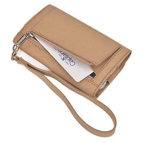 Kroo Pochette en cuir véritable pour téléphone portable pour Prune pourraient Plus/synchronisation 5.0 Marron - marron Marron - marron
