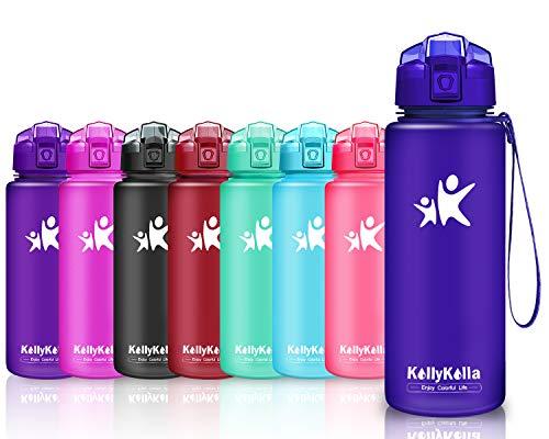 che Sport BPA-frei Auslaufsicher Wasserflasche, 1000ml Tritan Sportflasche Kunststoff mit Filter für Kinder, Schule, Mädchen, Wasser, Fahrrad, Gym, Yoga, Matte Marine-3 ()