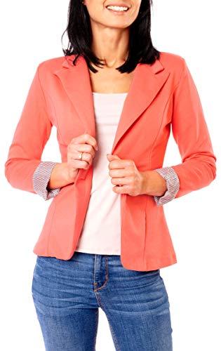 Easy Young Fashion Damen Casual Sweat Jersey Blazer Jacke Sweatblazer Jerseyblazer Kurz Gefüttert 3/4 Arm Koralle L 40 (XL)