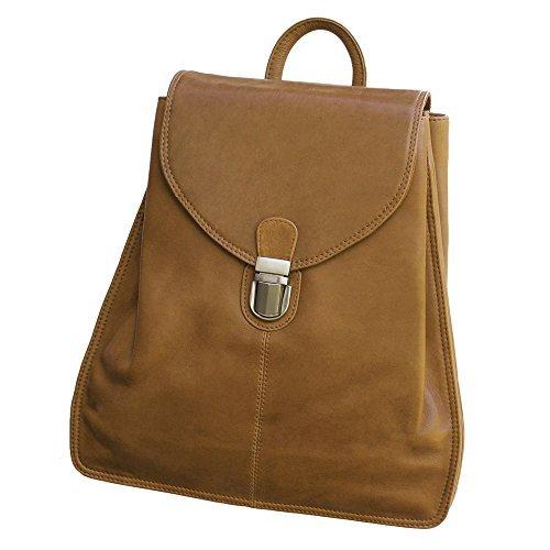 Kleiner Lederrucksack Größe S / Rucksack-Handtasche aus Leder, für Damen, Kastanien-Braun, Branco br96 Cognac