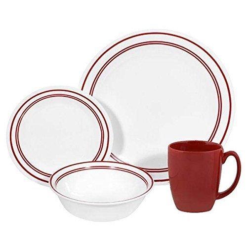 Corelle Livingware 16-Piece Dinnerware Set, Service for 4, Classic Cafe Red by Corelle (Corelle Classic Cafe)