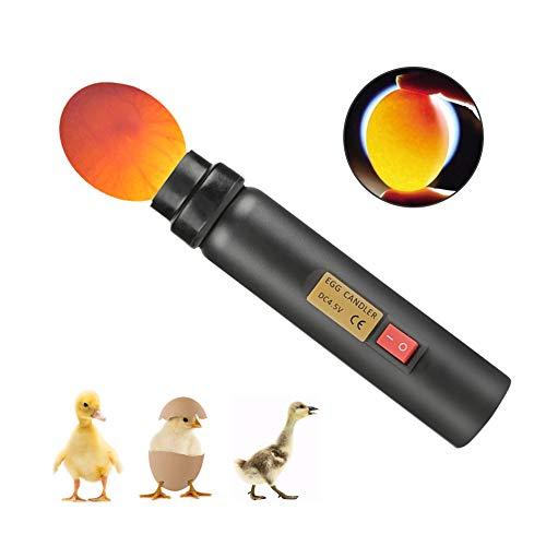Zyyini Tester per Uova, Batteria e Carica Luce LED Incubatrice a LED ad Alta Luce, Adatto per Osservare Lo Stato di Un Uovo(Senza Batteria)