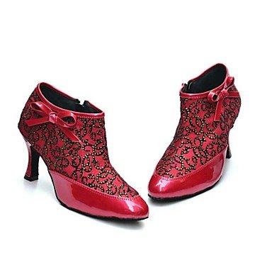 Scarpe da ballo-Personalizzabile-Da donna-Balli latino-americani-Tacco a rocchetto-Vernice-Rosso Red