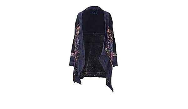 Amazon Serena Donna Blu Cardigan M 18wwjfdh Desigual Jers it wzZBqg