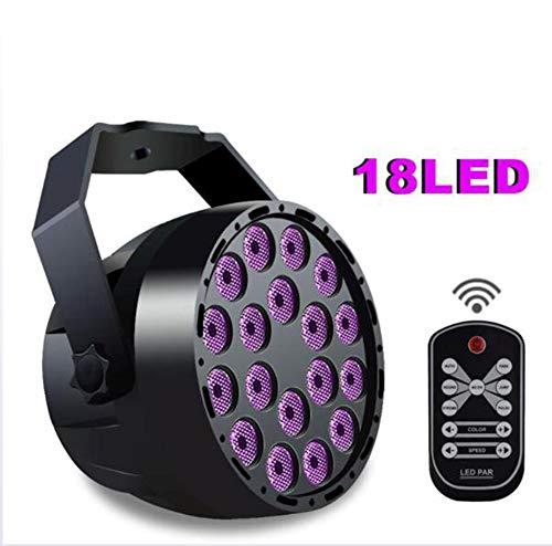 (LED Par Licht 18 UV Lila LED Mini Remote Vollfarbe Par Licht Scheinwerfer Sound Mini Projektor Party KTV Bar Club Licht)