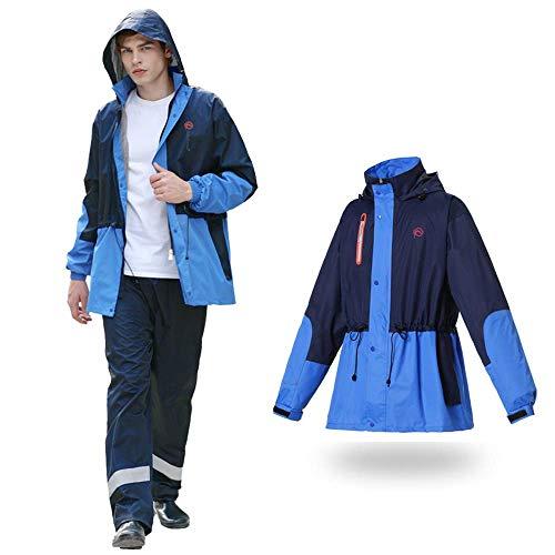 Geyao Mode Flut Regenjacke Regen Hosen Anzug wasserdicht Erwachsene Männer im Freien Motorrad Elektroauto Reiten Regenmantel (Color : Blue, Size : L)