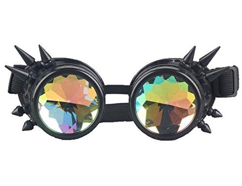 AFUT Spitz Gitter Kaleidoskop Brille Prisma Steampunk Kristall Schwarzes Rahmen