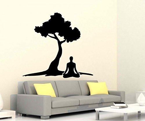 Wandtattoo Reiki Yoga Übung Baum Energie Sport Körper Sticker Auto Om Zeichen Buddha Asien Wand Aufkleber 5B269, Farbe:Schwarz Matt;Hohe:65cm