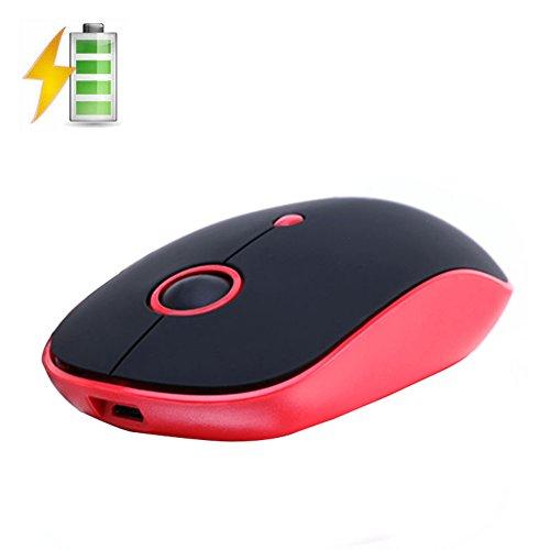 Preisvergleich Produktbild UrChoiceLtd® Kabellos Maus,  Q10 Wiederaufladbar Spiel Maus USB Optische 7 Farben Hintergrundbeleuchtung Computer Maus Für MAC / PC / Notebook,  3 Einstellbare DPI,  4 Knöpfe (Q10 Rot Schwarz)