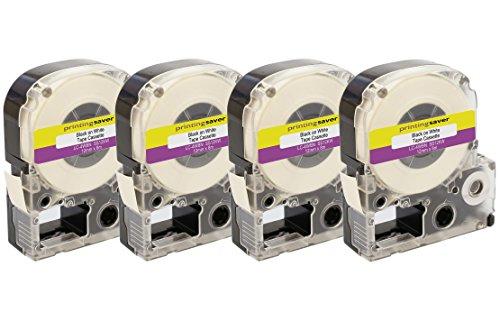 4 Rollen LC-4WBN SS12KW 12mm x 8m Schwarz auf Weiß Schriftband kompatibel für Epson LabelWorks LW-300 LW-300L LW-400 LW-500 LW-600P LW-700 LW-900P LW-1000P - Epson Farbband Kassette
